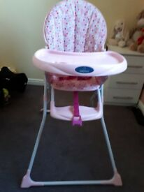 BabyStart pink Highchair – foldable with straps and footrest