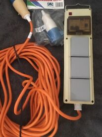 Camping plug 3 socket With Rcd had a long extension cable only used once