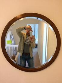 Old oak bevelled mirror