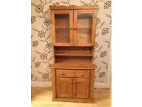 SOLID PINE DRESSER WITH GLASS DOORS AND LIGHT
