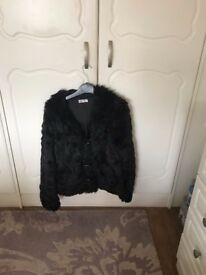 fur bomber black jacket excellent condition