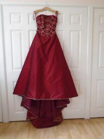 Burgundy Silk Wedding Dress by The Design Room