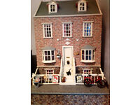 12TH SCALE WORLD WAR TWO THEMED DOLLSHOUSE FULLY FURNISHED + TWO GARDENS!