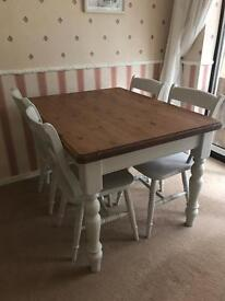 Dining table 4 chairs solid wood