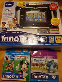vTech blue Innotab 3s tablet with two games Fully Boxed