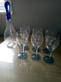 Set of 6 glasses and matching decanter