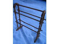 Wooden free floor standing bathroom rack. Vintage towel rail, hanger. Shabby chic style.