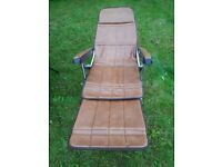 Two garden chairs one leather extendable one standard both with cushions hangleton area