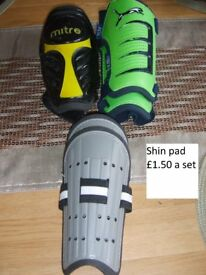 shin pads £1.50 a set collection from didcot from a smoke and pet free home