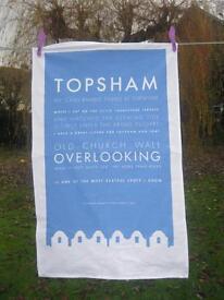 Topsham tea towels 100% cotton, designed in Topsham, made & printed in UK.