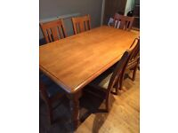 Solid Pine Kitchen table + 6 chairs - great condition