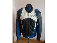 Men's Black White Blue Leather Alpinestars Motor Cycle Jacket Size Large