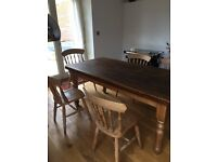 Farmhouse Kitchen Style Pine table and 6 chairs. Ideal for someone who wants to shabby chic.