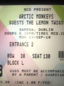 ONE***** SEATED ARCTIC MONKEYS TICKET DUBLIN 24 SEP