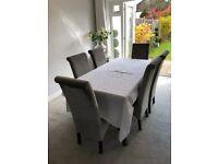 6 High back grey velvet dining chairs