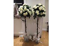 Fake/fabric cream rose bush/tree x2 ideal for weddings