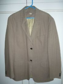brand new men's l/brown thin striped lovely blazer jacket,42 inch chest, wear on any trousers ,jeans