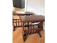 Gorgeous set of TWO Solid Cherry Wood Side Tables / Magazine & Newspaper Rack Antique Style
