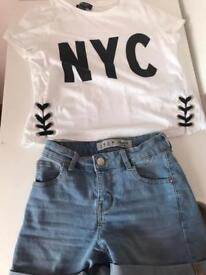 Girls age 13 top size 6 shorts