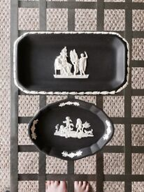 2 Piece Wedgwood Black Jasper Trinket Dishes