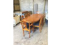Dinning Table made of Yew and chairs 6 or 8 seater