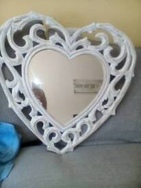 Wooden heart mirror