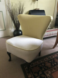Cocktail Chair newly upholstered in fresh yellow and white quality fabric