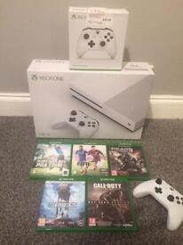 X box one s 1tb boxed 2 controls and games