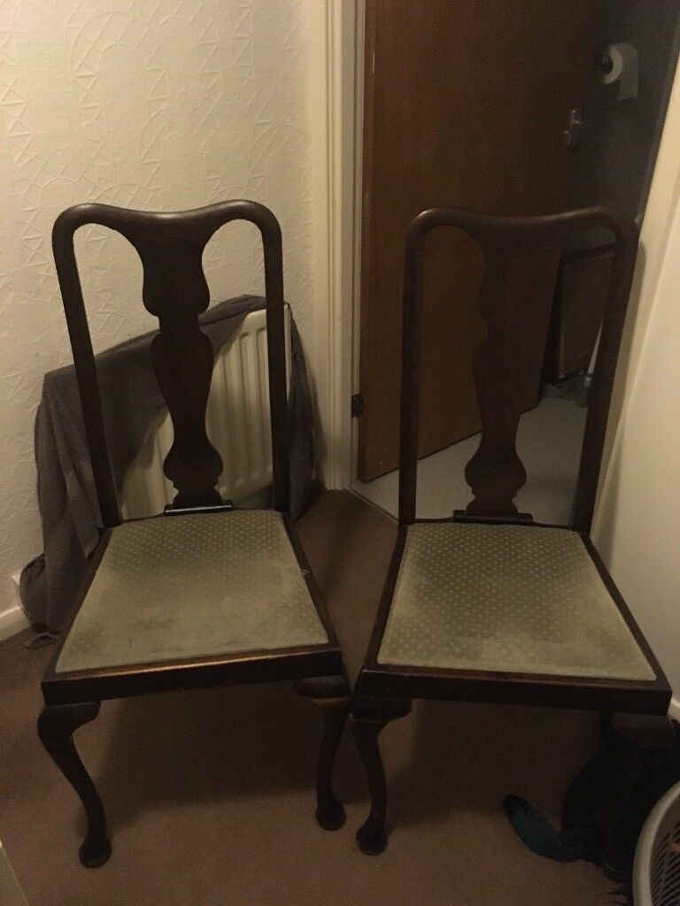 Pair Of Vintage Queen Anne Style Chairs