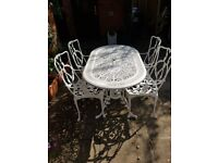 White Cast Aluminium Patio Table and 4 Chairs