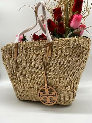 AUTH NWT $298 TORY BURCH Women's Straw Drawstring Tote Shopper In Natural
