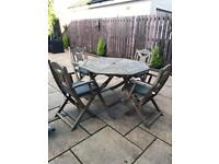 Garden table & chairs with sun lounger