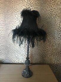 Black boudoir feather lamp