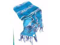 NEW Fashion silk blue scarf with wool decoration