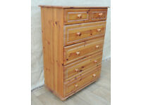 Multi Drawer Pine chest tall (Delivery)