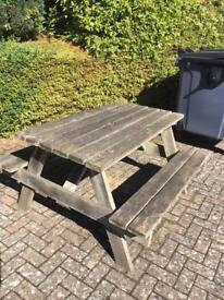 Solid hard wood picnic bench