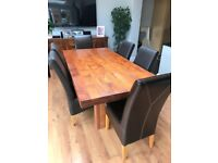 6 Solid Oak and Brown Leather Chairs