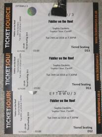 3 x Fiddler on the Roof tickets