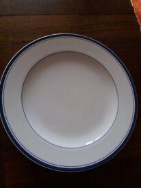 blue rimmed dinner plate