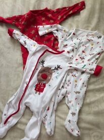 3 pack mothercare Christmas 6-9 months girls sleep suits