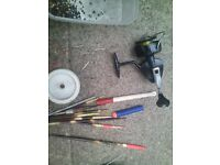 fishing items, reel, weights floats, etc