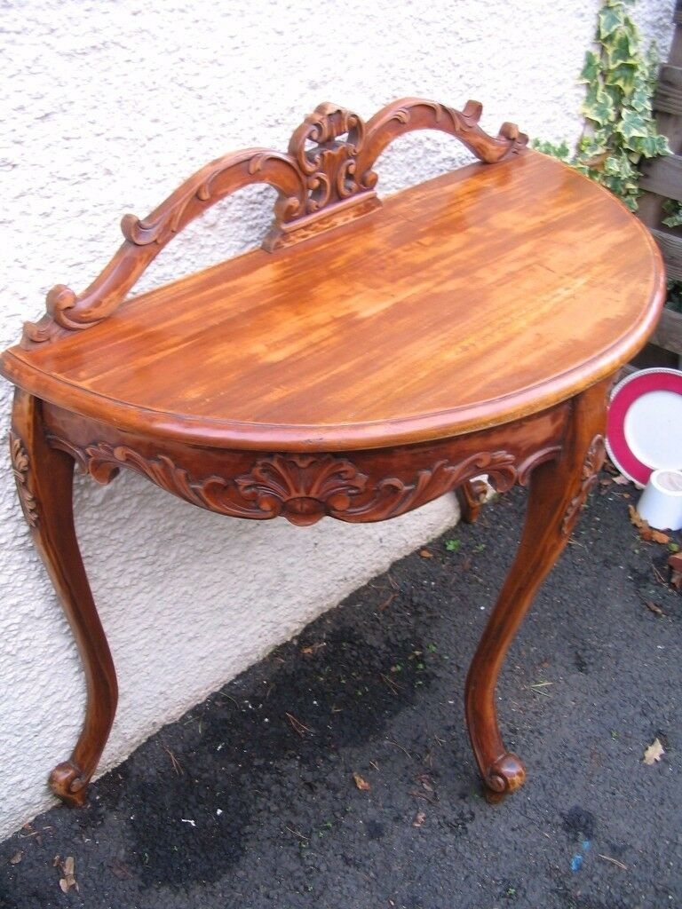 Demi Lune Crescent Shaped Console Side Hall Table Sofa