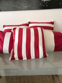 red and white stripe pillows