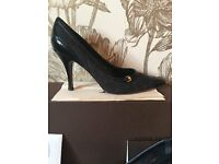 Designer Louis Vuitton Black Monogram Canvas & Leather Pointy Toe Pumps uk4.5 eu37.5 rp£550