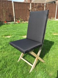 6 black high back seat cushions for wooden garden chairs