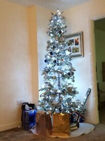 Christmas Tree - 2yr old only - Snow effect + LED clear wire lights + Baubbles