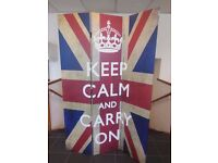 ROOM DIVIDER, FOLDING SCREEN (KEEP CALM AND CARRY ON)