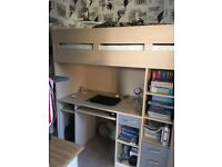 KIDS COMBO MID SLEEPER BED (WITH COMPUTER DESK, SIDE WARDROBE, BOOK SHELF AND 3 DRAWERS)