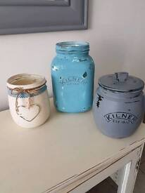 Shabby chic hand painted jars