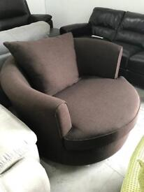 DFS brown fabric cuddle chair